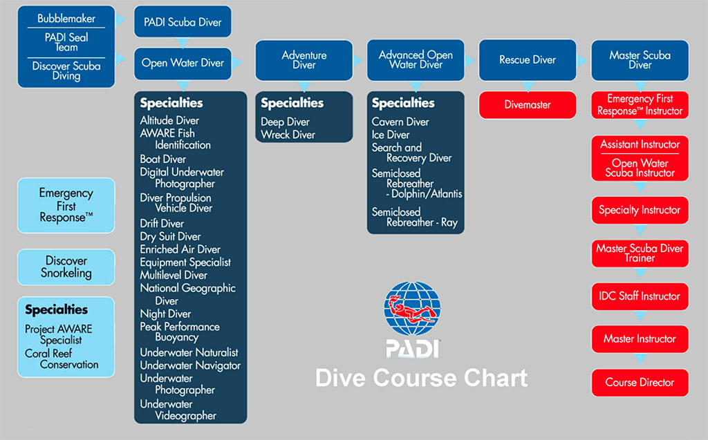 Обучение дайвингу курсы PADI